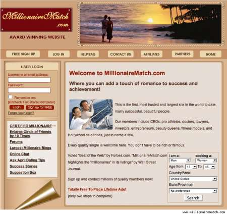 Dating siti Web milionario