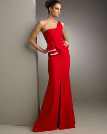 one shoulder gathered gown 1