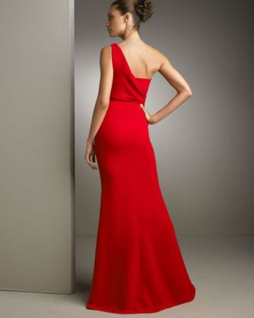 one shoulder gathered gown 2