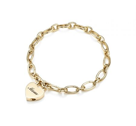 mom heart lock charm bracelet