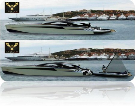 Diamond 44, il primo yacht con catamarano integrato by Fenice Milano