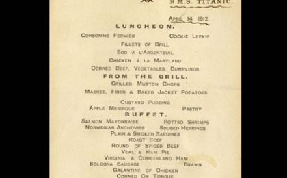 Cimeli del Titanic, sarà venduto all'asta un menu dell'ultima cena