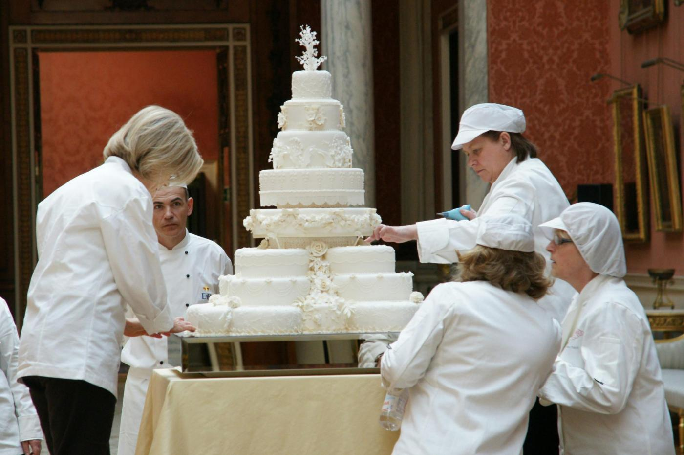 The Royal wedding cake prepared for reception in London, UK