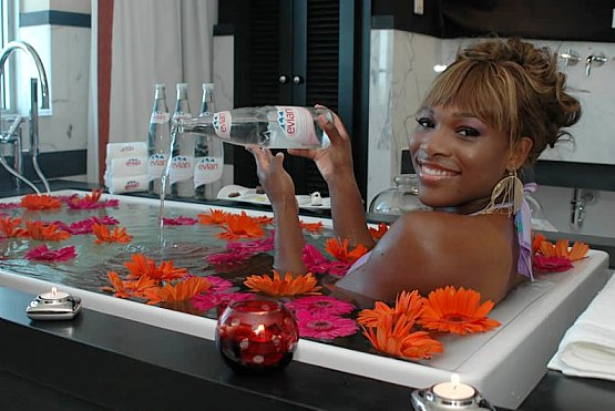 Serena Williams evian bath hotel victor evian spray