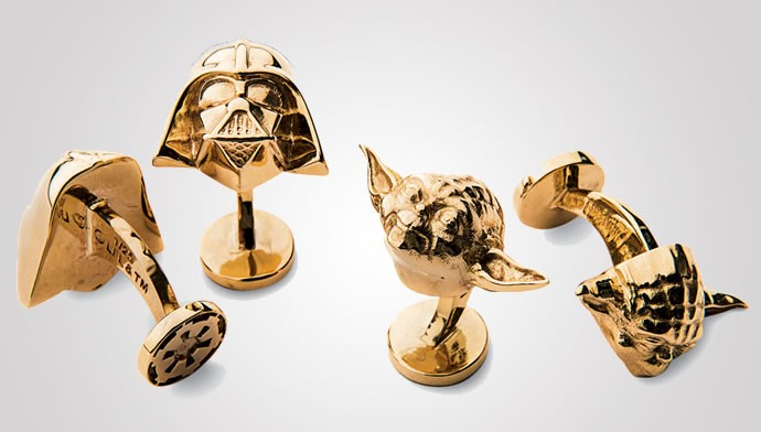 Neiman Marcus 14 Karat Gold Darth Vader Cuff Links