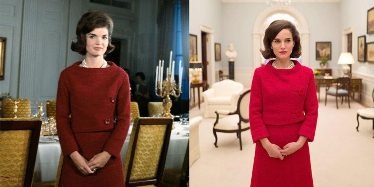Jackie Kennedy e Natalie Portman con tailleur rosso