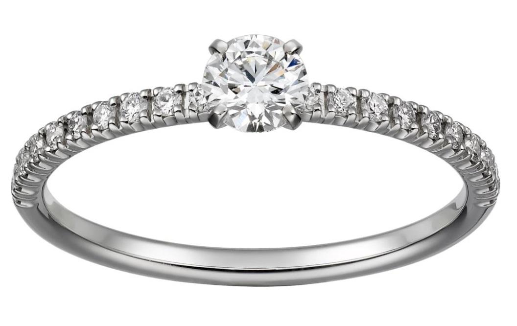 Anello di fidanzamento in platico e diamanti Cartier