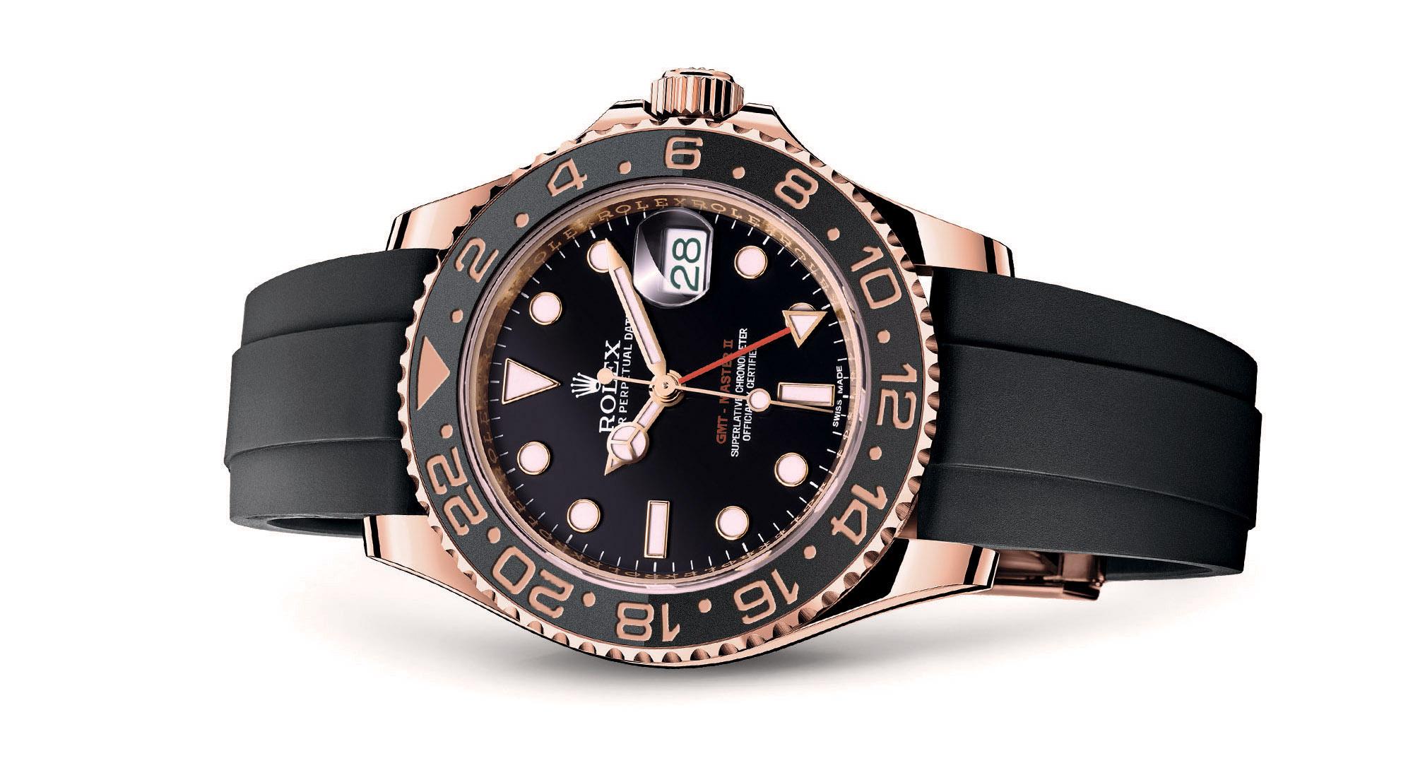 Rolex GMT Master II in oro rosa con cinturino in gomma
