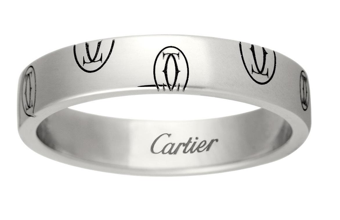 Anello in oro bianco con logo Cartier