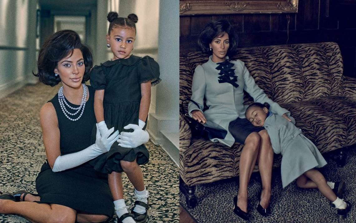 Kim Kardashian ritratta come Jackie Kennedy insieme alla figlia North