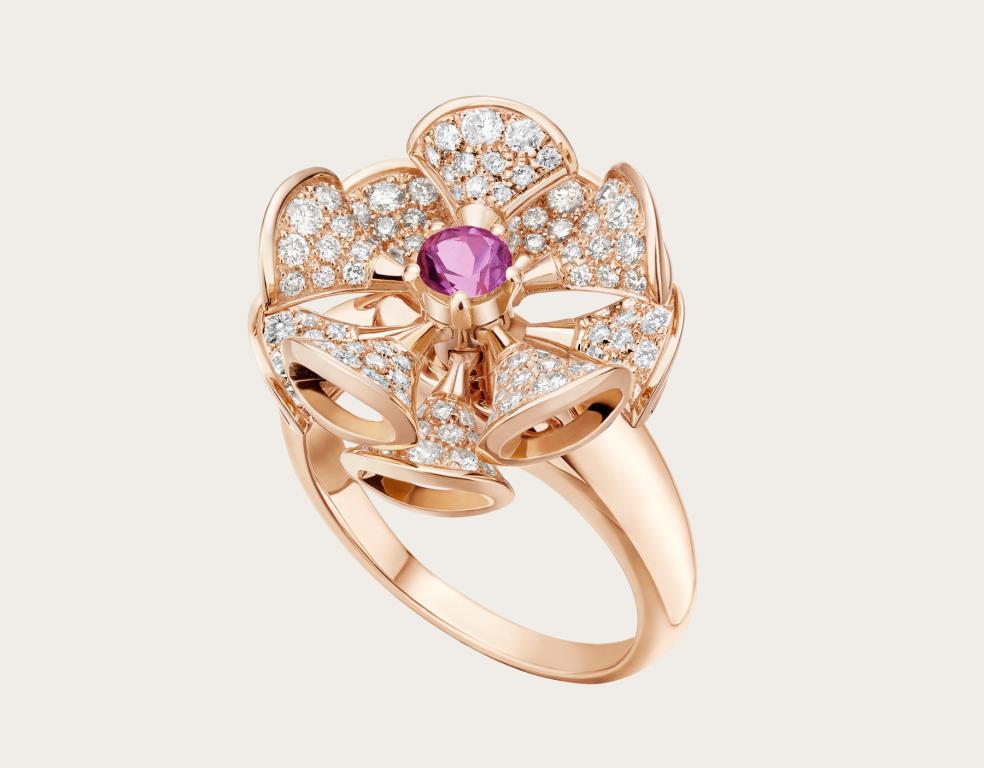 Anello in oro rosa 18 K con diamanti Bulgari