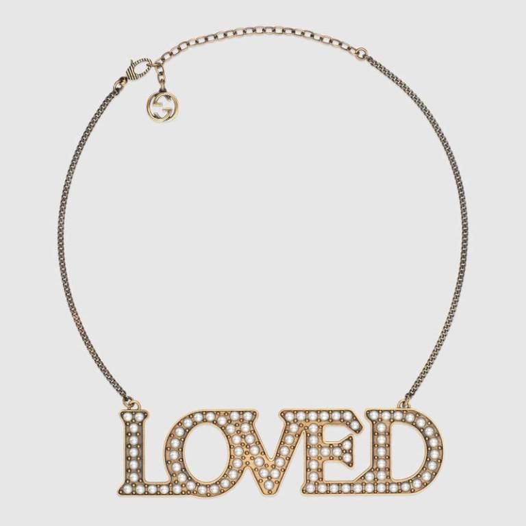 Collana in oro con perle Gucci