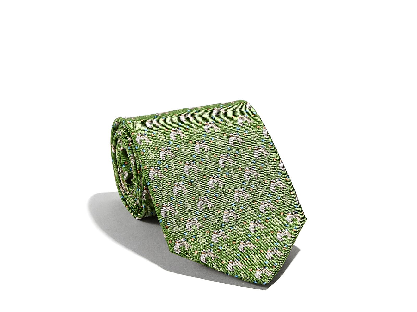Cravatta Ferragamo in seta verde