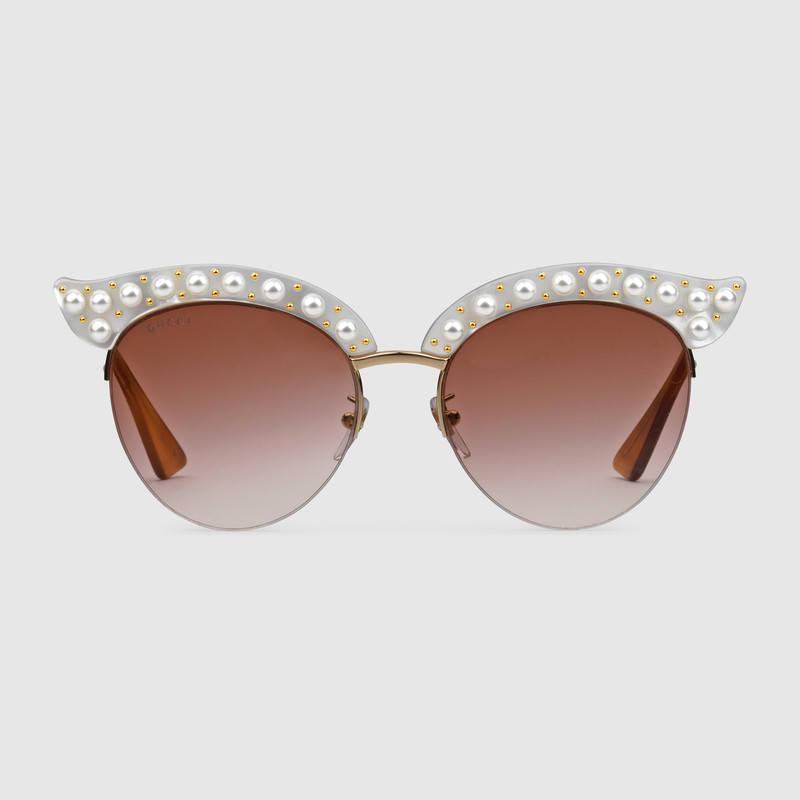Occhiali da sole a gatta con perle