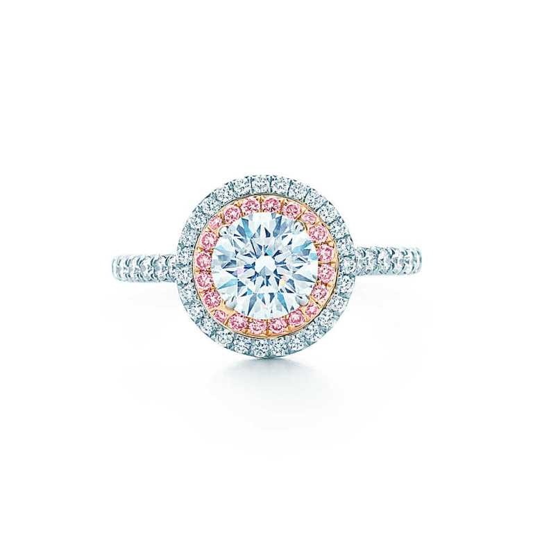 Anello di fidanzamento Tiffany Soleste con diamanti bianchi e rosa