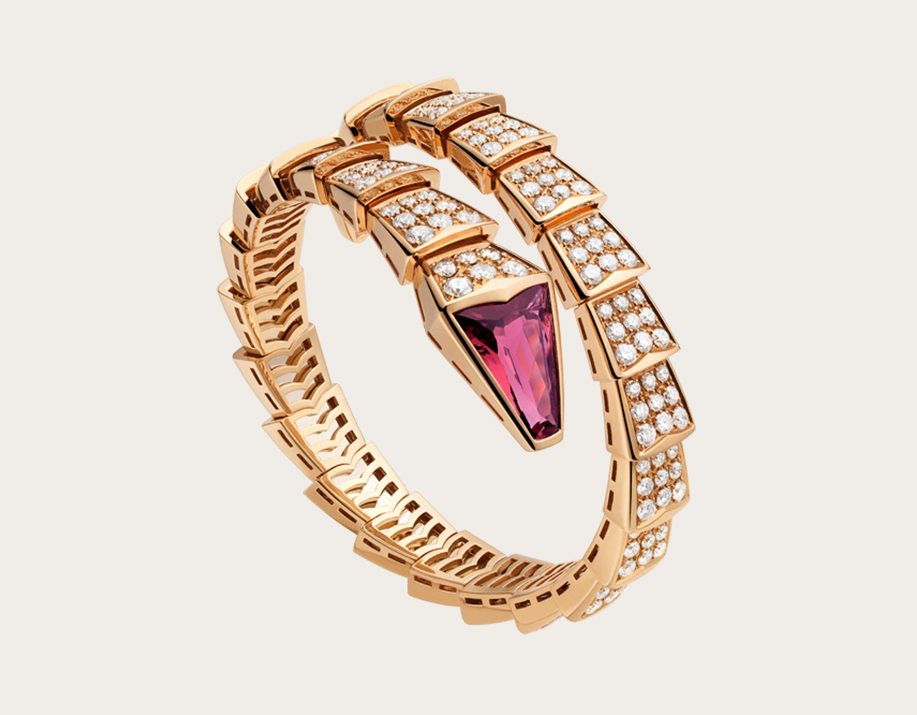 Bracciale in oro rosa con tubellite e diamanti Bulgari Serpenti