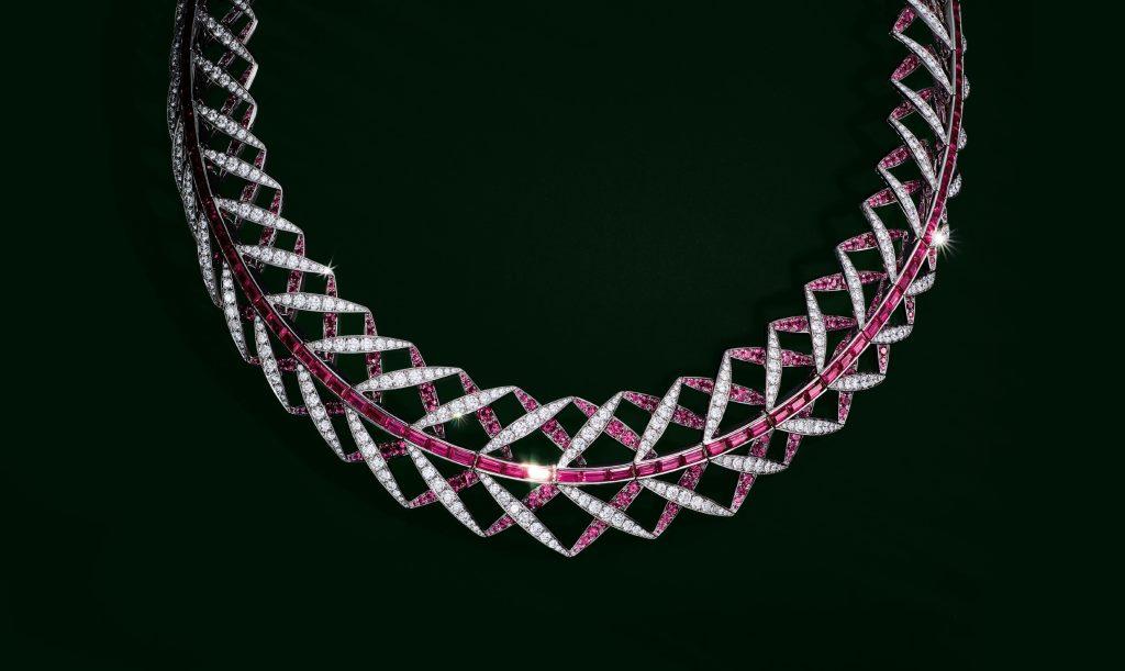 Collana in platino, zaffiro rosa e diamanti Tiffany Alta Gioielleria