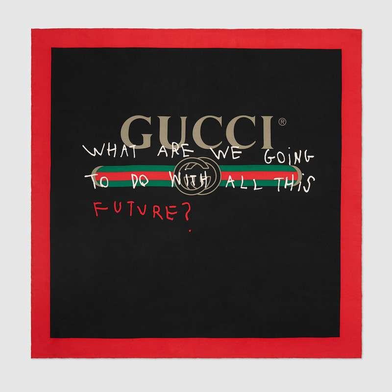Foulard con stampa Gucci Coco Capitán con base nera