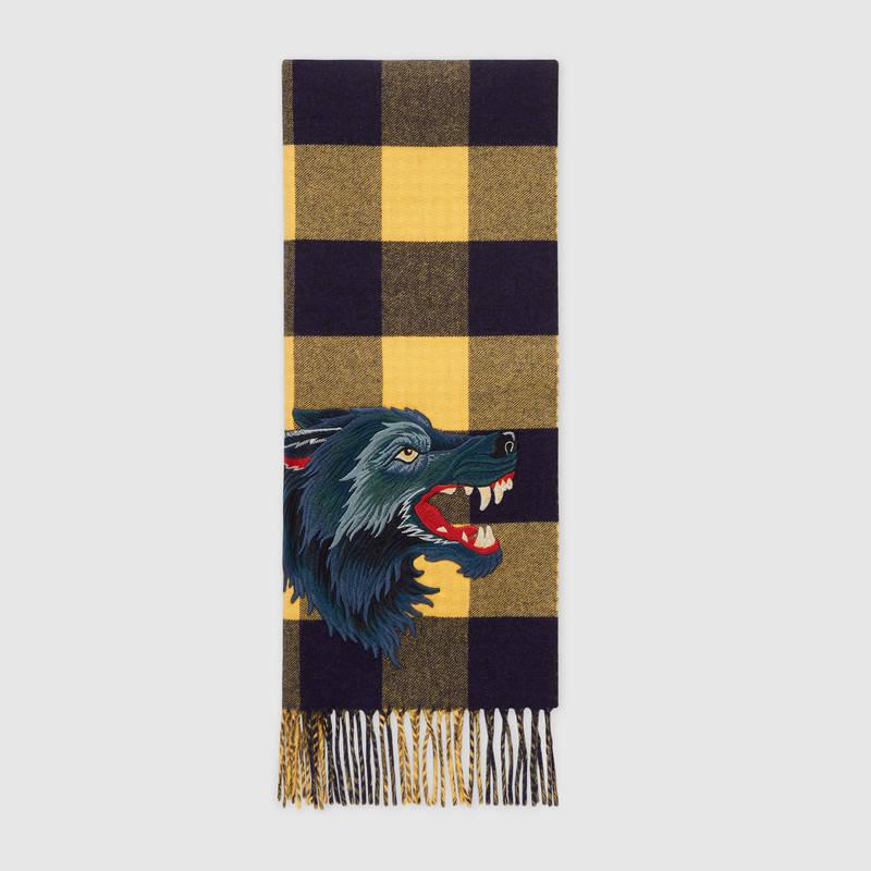 Sciarpa uomo in cashmere e lana Gucci