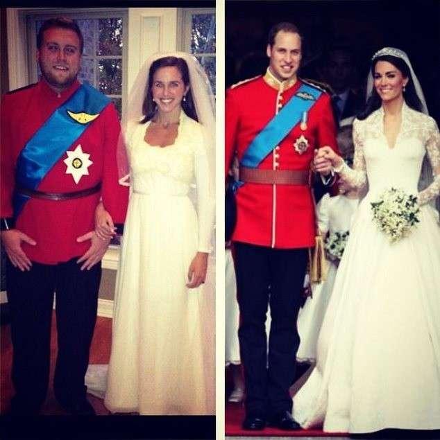Travestimento con abito da sposa di Kate Middleton