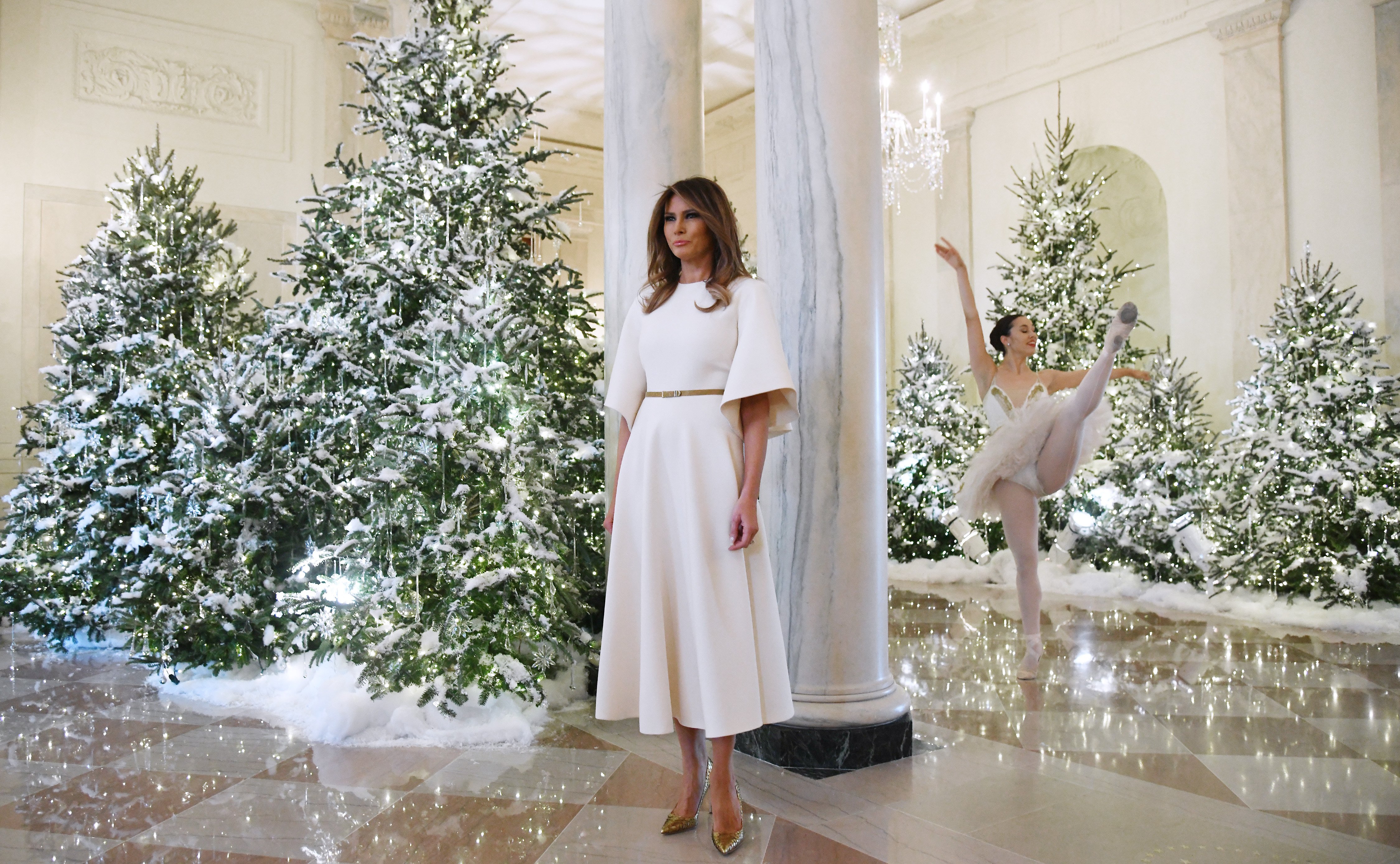 First Lady Melania Trump welcomes children and students from Joint Base Andrews to the White House to view the 2017 holiday decorations