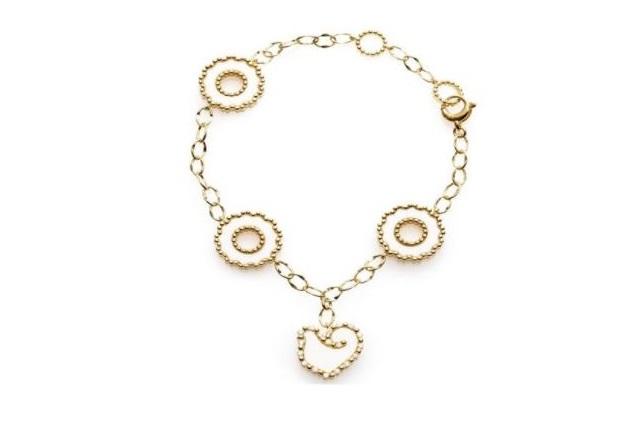 Bracciale in oro giallo con quattro elementi in kogolong e diamanti Chantecler Capri
