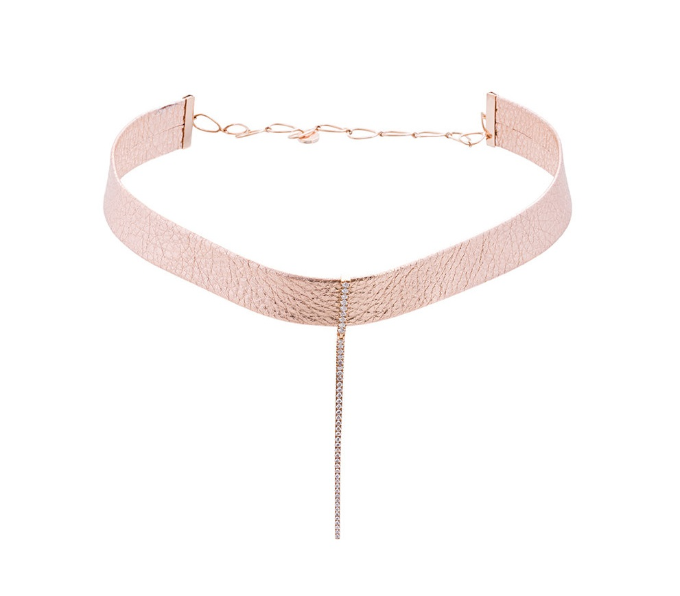 Collana choker in oro rosa con diamanti Diane Kordas collane 2018