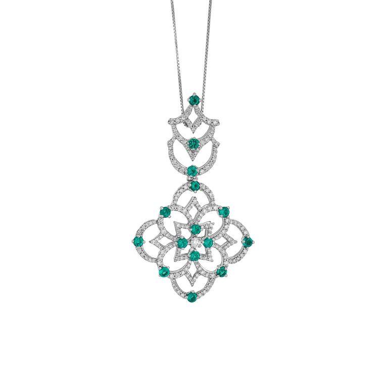Collana con pendente in Oro Bianco 18k con Smeraldi e Diamanti Gioielli di Valenza