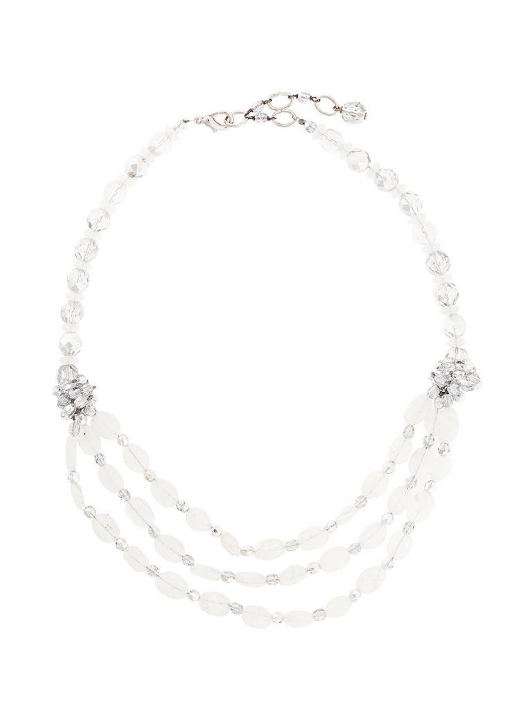 Collana in argento con perline bianche Armani collane 2018