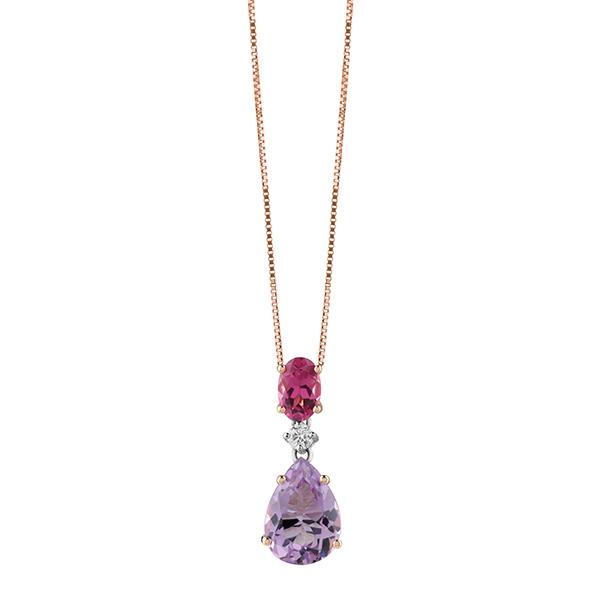 Collier in oro rosa con diamanti 0,06 ct e pietre semipreziose Gioielli Salvini