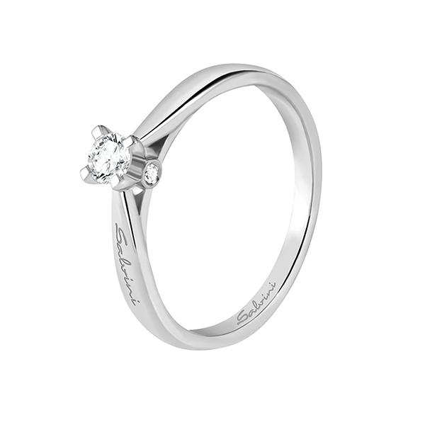 Anello solitario in oro bianco con diamanti Salvini Gioielli 2018