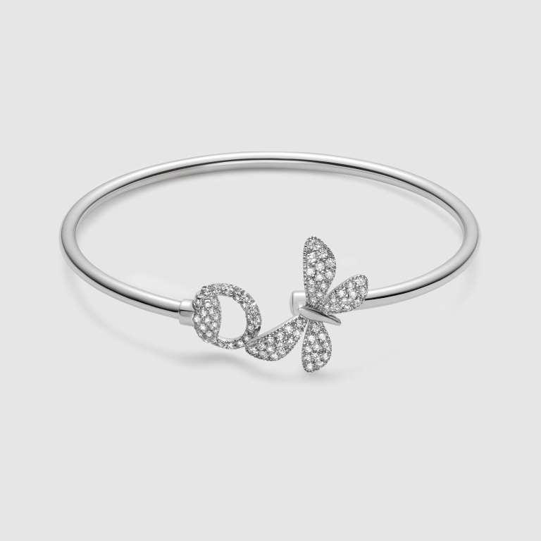 Bracciale rigido Gucci in oro bianco con diamanti bracciali 2018