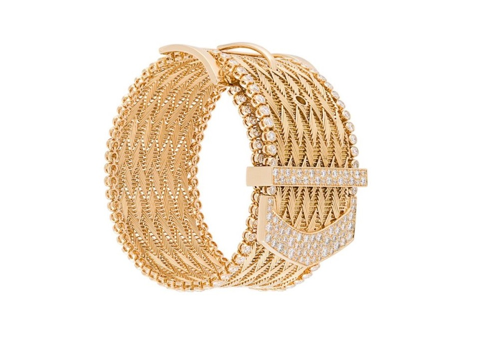 Bracciale rigido in oro giallo 18kt e diamanti di Aurelie Bidermann