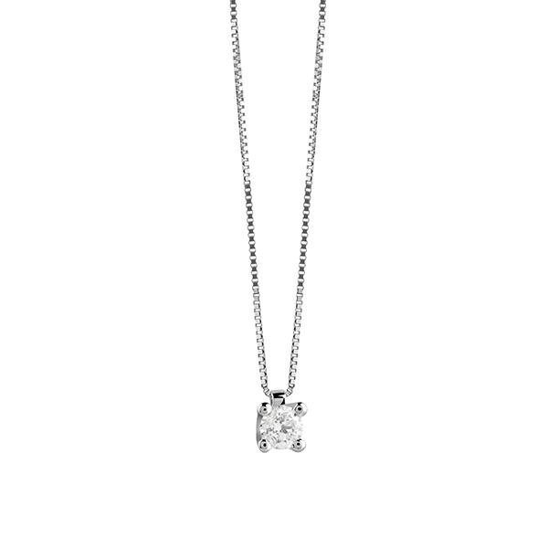 Collier punto luce in oro bianco con diamante Virginia Salvini Gioielli 2018