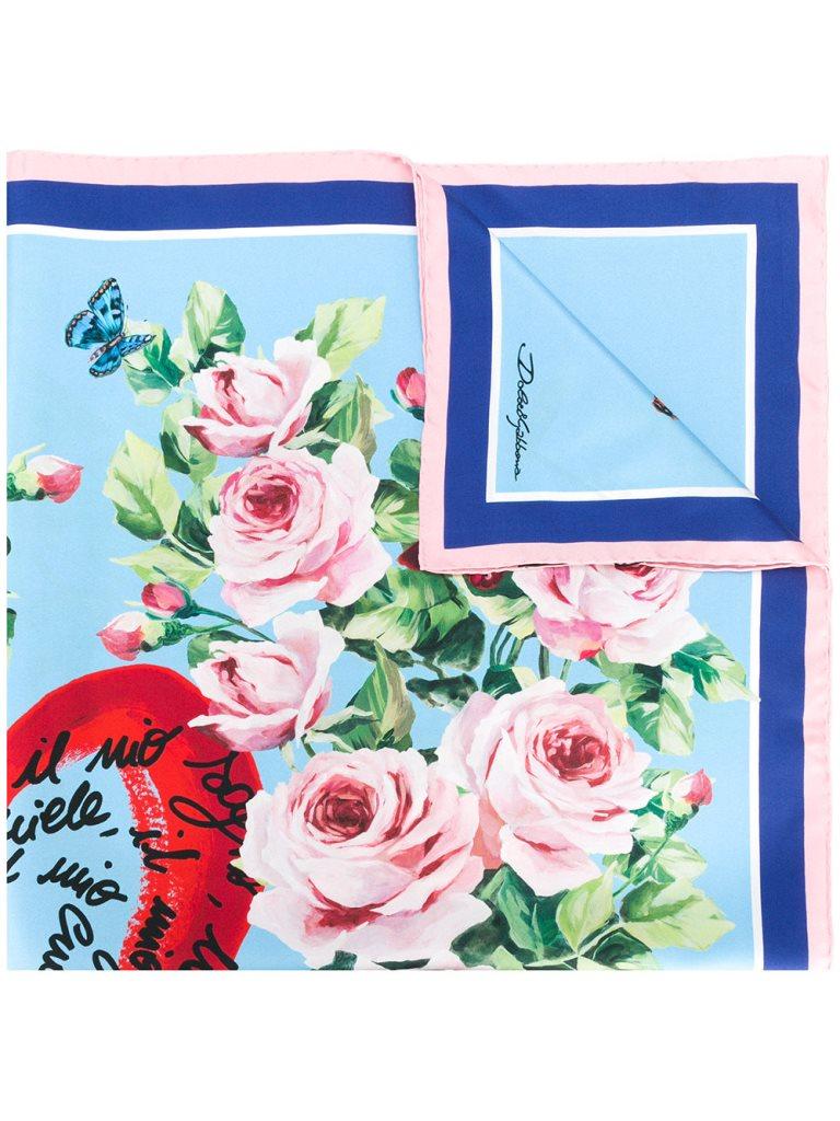 Foulard in seta con stampa floreale Dolce & Gabbana regali san valentino 2018 per lei