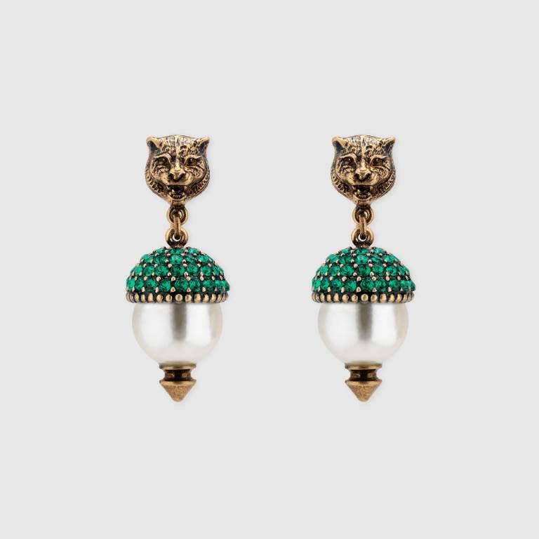 Orecchini con perle e cristalli Gucci