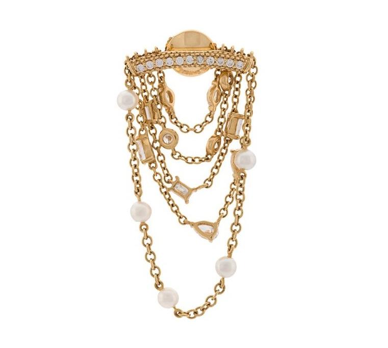 Orecchini con perle in oro giallo Yvonne Leon 2018