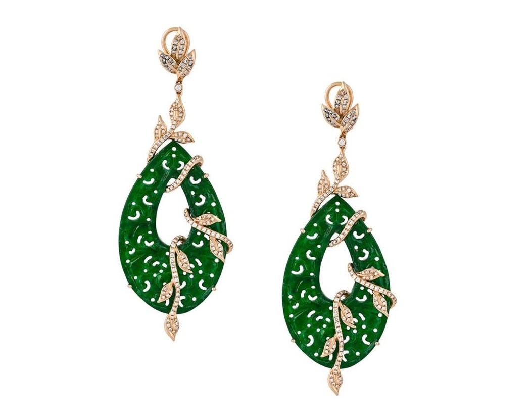 Orecchini pendenti verdi in oro 18kt con diamanti 1,35ct e giada di Gemco 2018