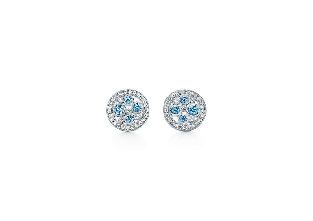 Orecchini piccoli a lobo Tiffany con diamanti e zaffiri 2018
