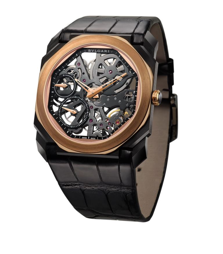 Orologio da uomo Bulgari Carbon Rose Gold Octo Finissimo Ultranero