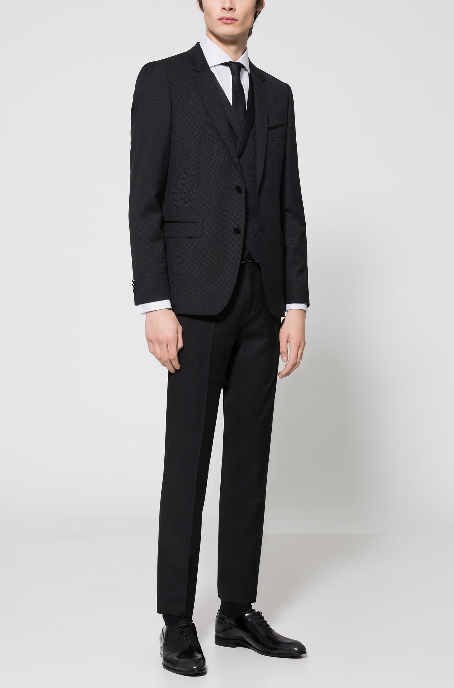 Abito da sposo Hugo Boss con gilet extra slim fit in lana vergine a disegni con guarnizioni in seta