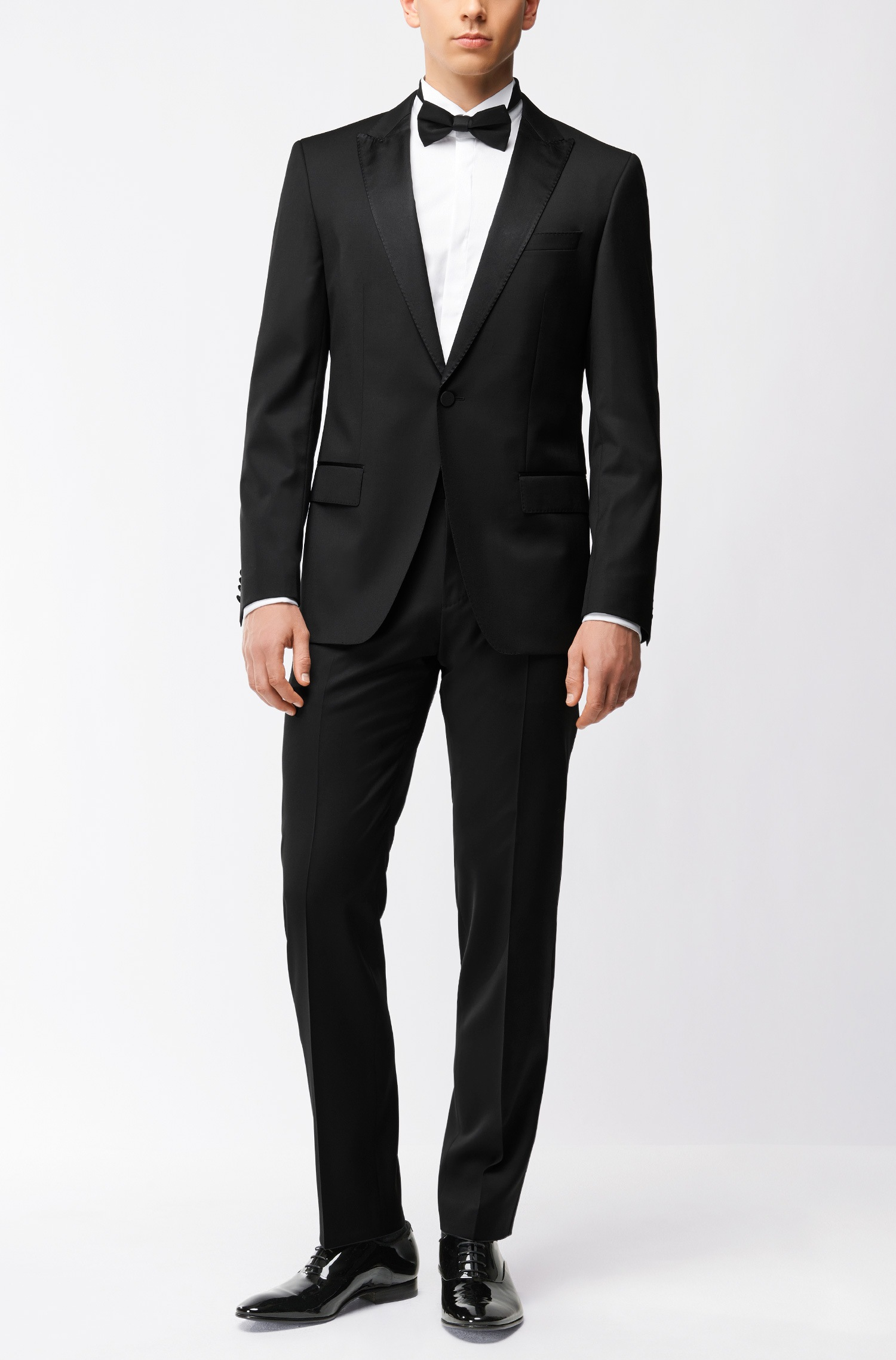 Abito da sposo Hugo Boss slim fit in lana vergine con finiture in seta