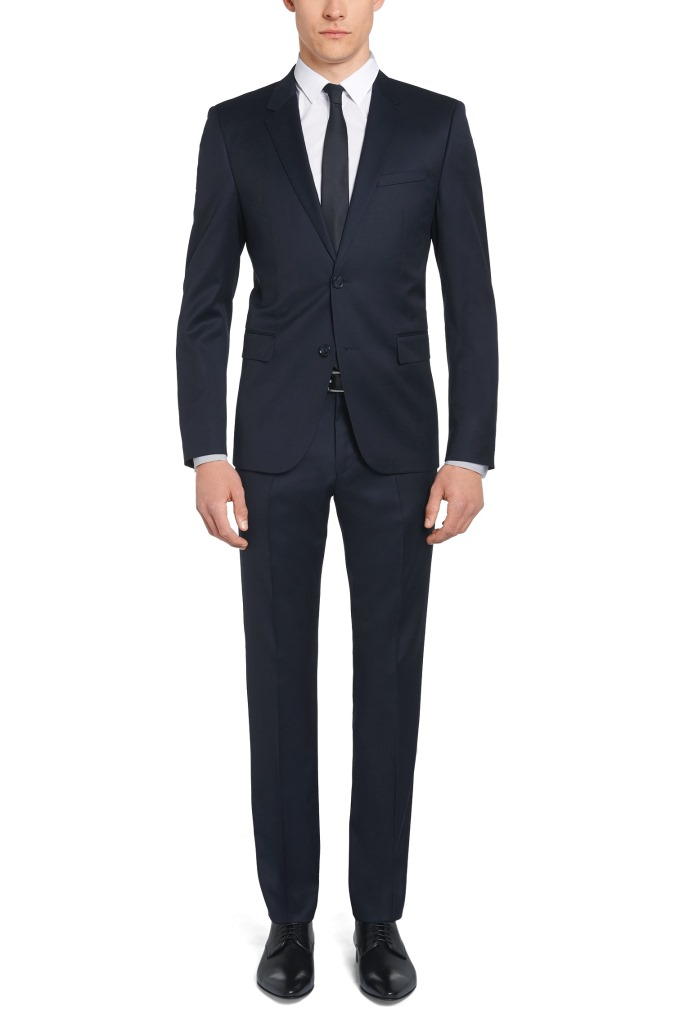 Abito da sposo Hugo Boss slim fit in lana vergine tinta in filo
