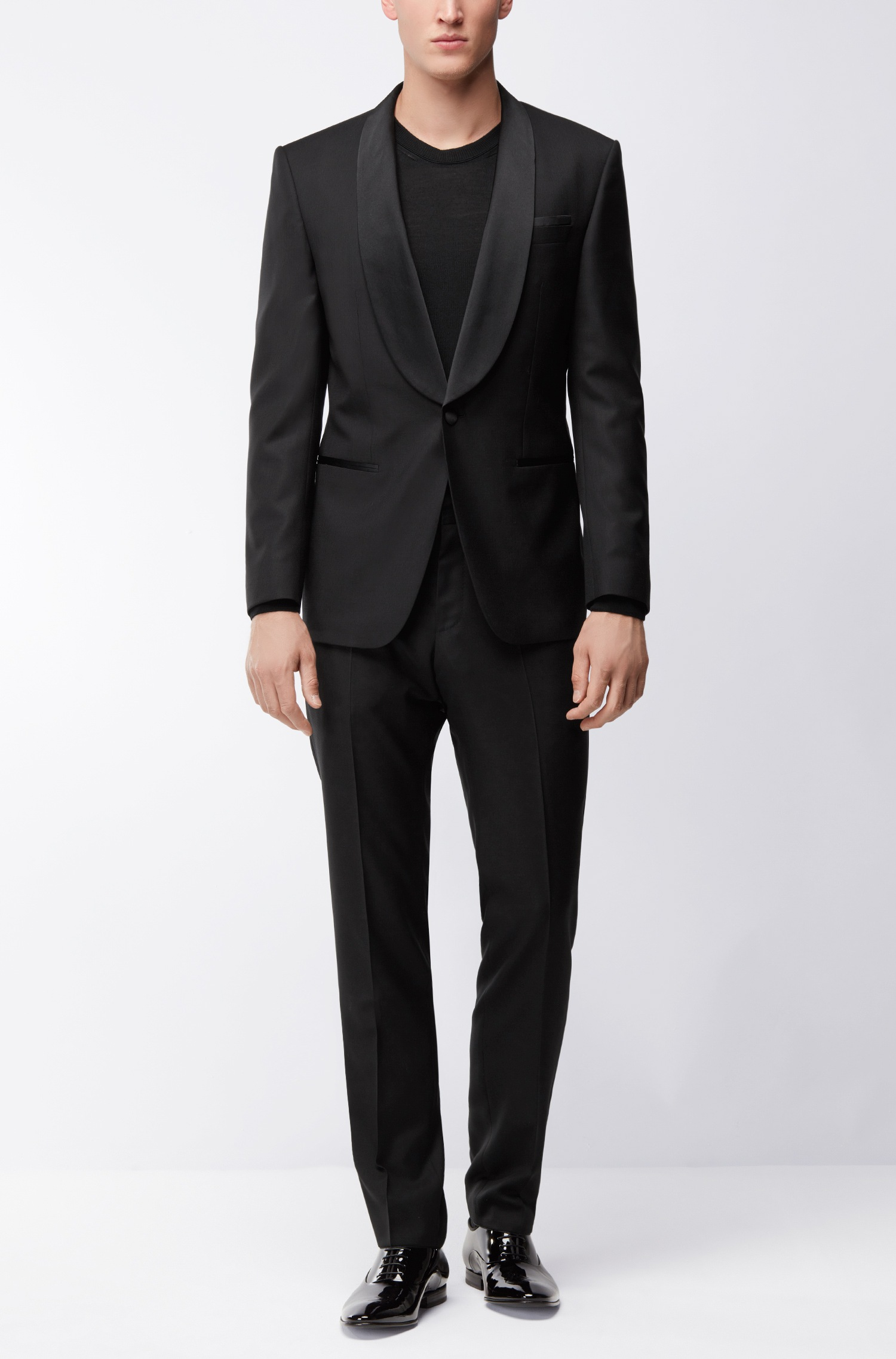Abito smoking elegante Hugo Boss slim fit in misto lana