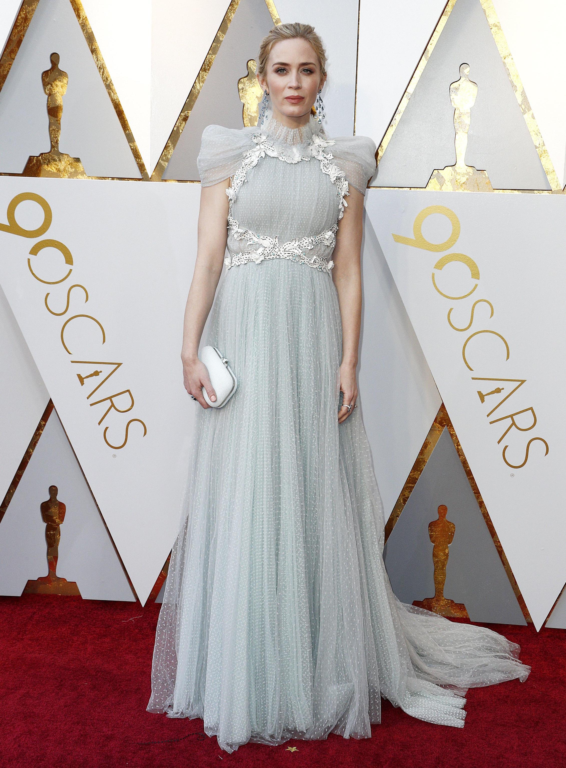 Emily Blunt in Schiaparelli Haute Couture and Chopard