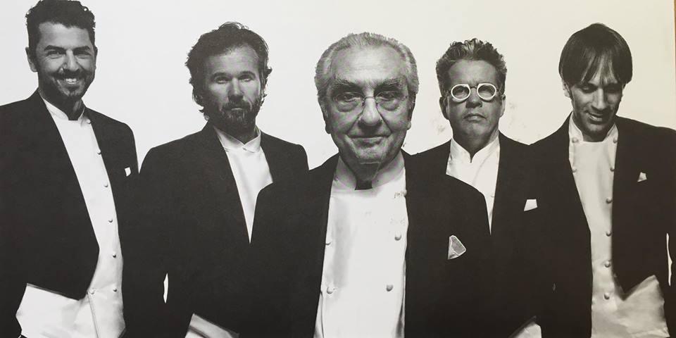 Gualtiero Marchesi accanto ai grandi chef italiani