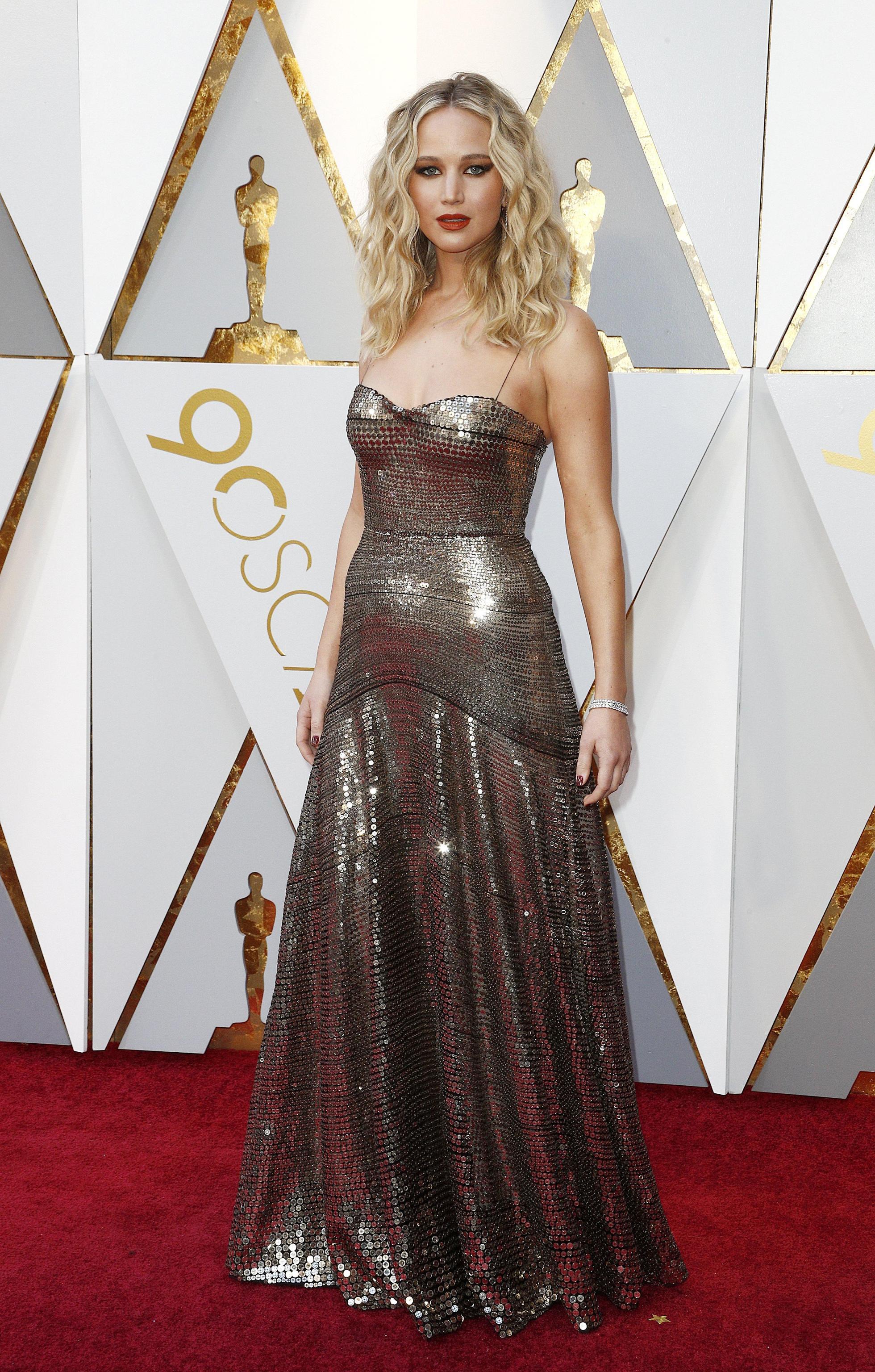 Jennifer Lawrence con abito Christian Dior