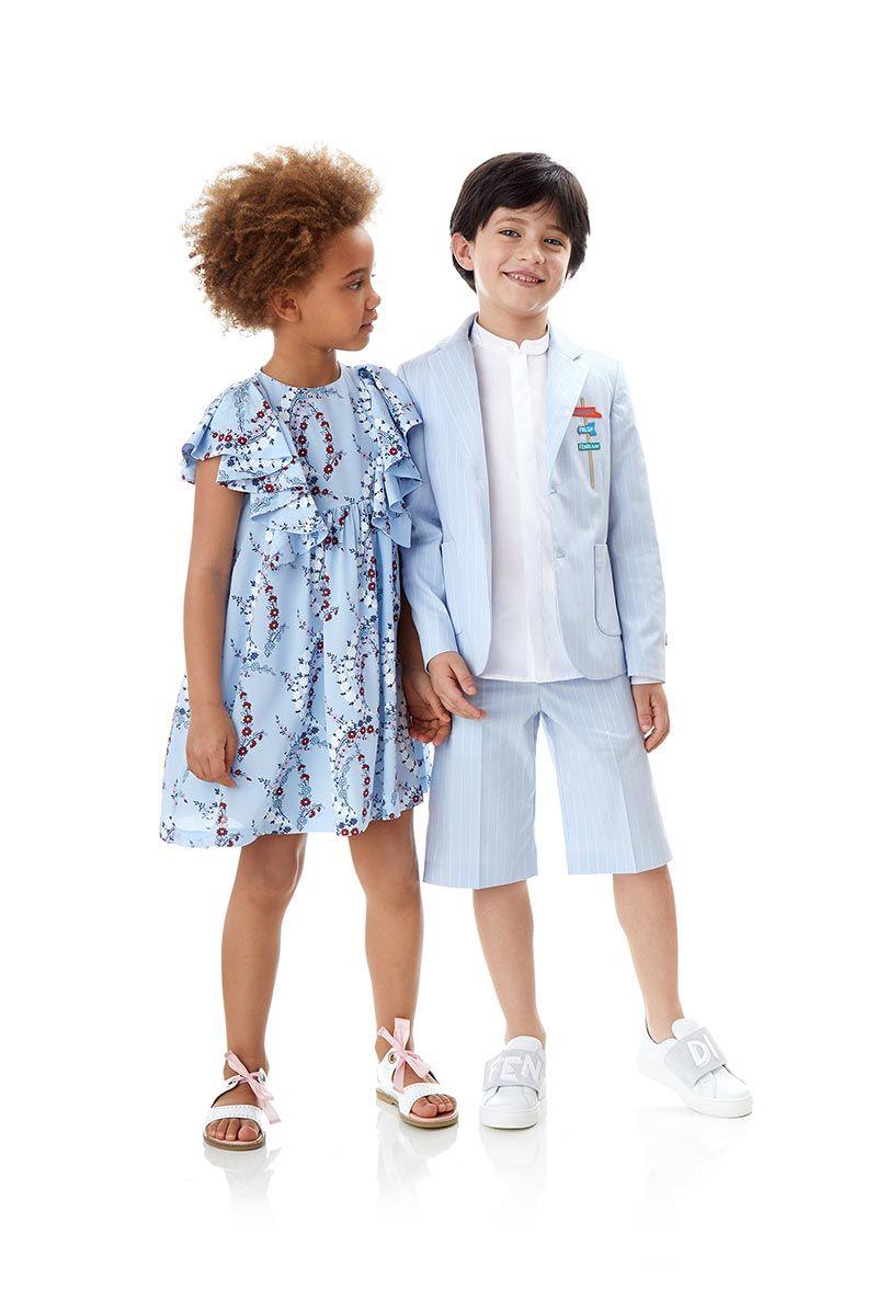 Completo da bambino Fendi con pantaloncini e abito per femminuccia colorato