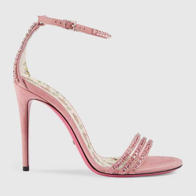 Sandali gioiello Gucci rosa con cristalli
