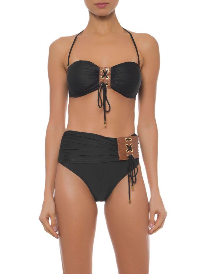 Bikini nero a fascia a vita alta